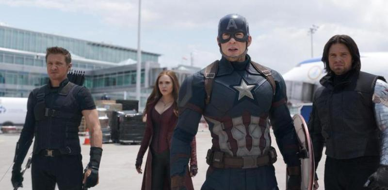 Captain America Civil War pictures - Hawkeye, Scarlet Witch, Captain America and Bucky