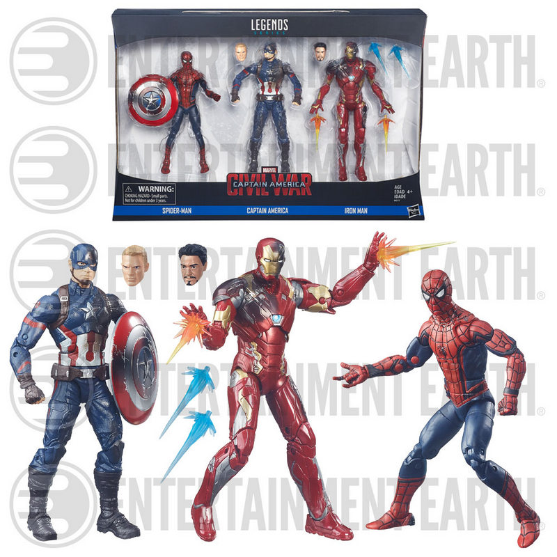 Marvel Legends Captain America Civil War - Captain America, Iron Man and Spider-Man figures package and loose