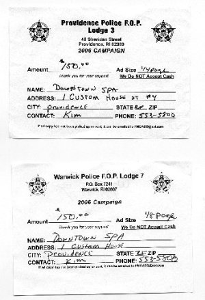 Receipts for donations made in 2006 by Downtown Spa to the Providence and Warwick Fraternal Order of Police.