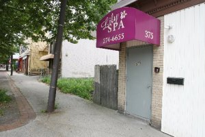 The front door of Lily Spa on Admiral Street in Providence. An ad for the business appeared in the 2008 issue of Cranston Police Union's Public Safety Guide, a booklet of safety tips. The Providence Journal / Kathy Borchers