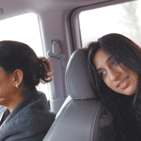 Monica Miglani and her mother, Rashmi, on their way to Monica's interview at Suffolk University, in Boston. Monica was nervous. Her father, Vinod, drove. The Providence Journal / Gretchen Ertl
