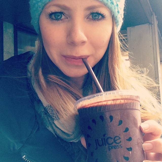 """Loving every sip of """"The Guru"""" smoothie with coconut water, frozen coconut meat, apple, dha oil, goji berries, frozen banana, frozen blueberry, hemp protein powder, hemp seeds and cacao."""