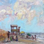 Scattered Skies and Lifeguard Tower 12x9