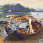 Boat on the Loire, 12x16