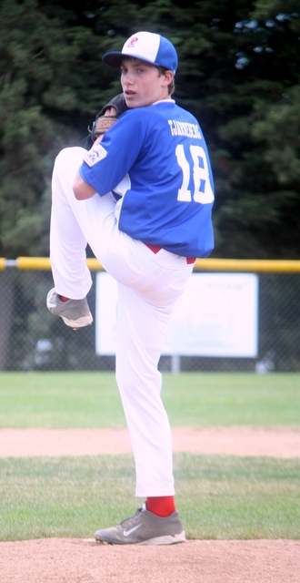 Pacific Little League's Karsen Tjarneberg pitched a four-inning no hitter to lead his team to a 12-2 win over Federal Way.