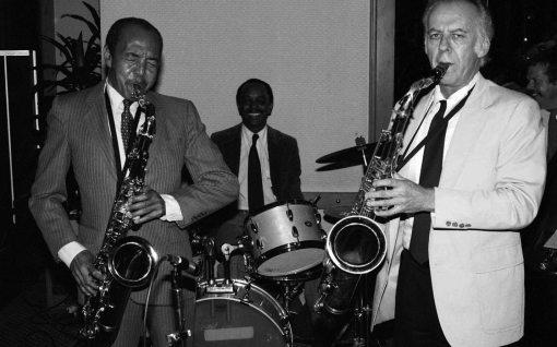 Harold Land & Warne Marsh w/ Albert Tootie Heath, drums | Gildo Mahones, piano | Bob Maize, bass | Hyatt Hotel, Sunset Blvd, Hollywood, California | April 12, 1985 | Photo by Mark Weber