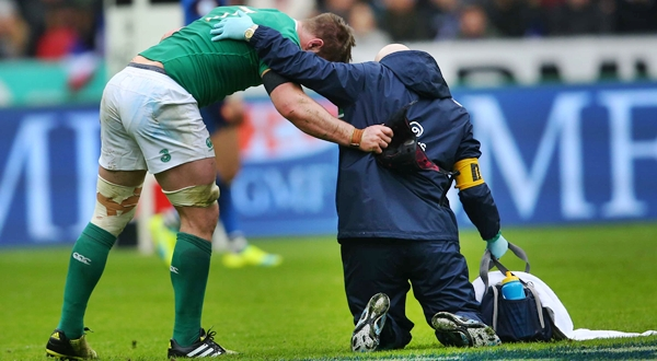 Sean O'Brien down injured with Dr. Eanna Falvey 13/2/2016