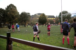 Rugby player misses a ball
