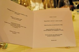 The menu for the night