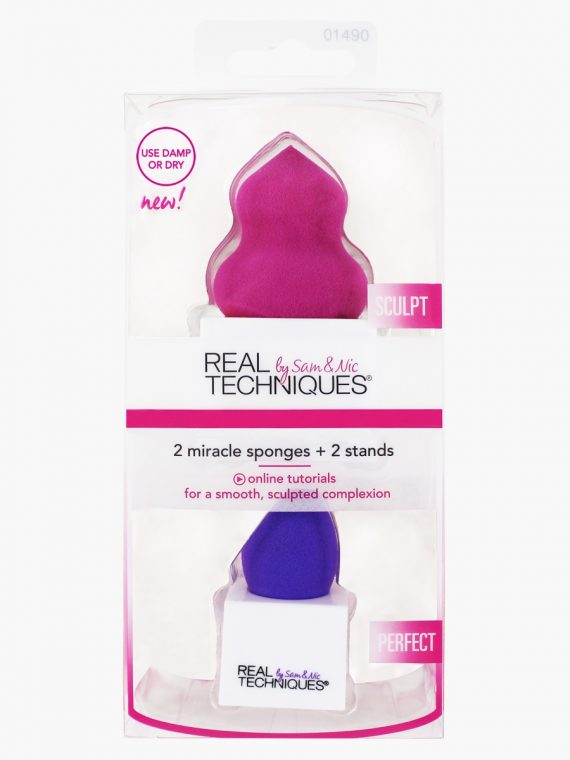 Real Techniques Two Miracle Sponge with Stands - new