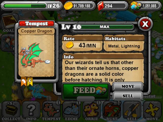 DragonVale COPPER Dragon