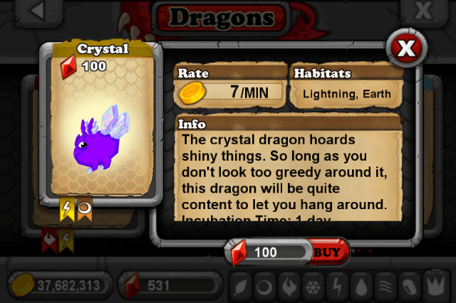 DragonVale CRYSTAL Dragon