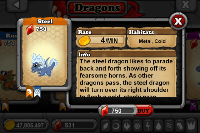 DragonVale STEEL Dragon