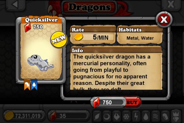 DragonVale QUICKSILVER Dragon