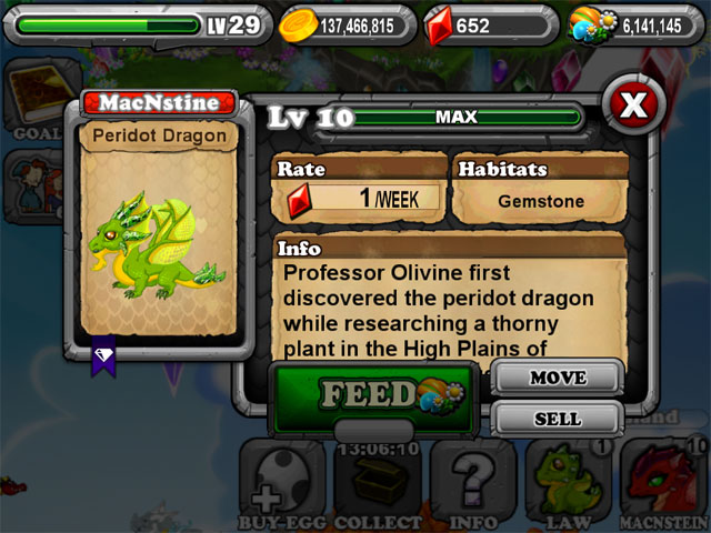 DragonVale PERIDOT Dragon