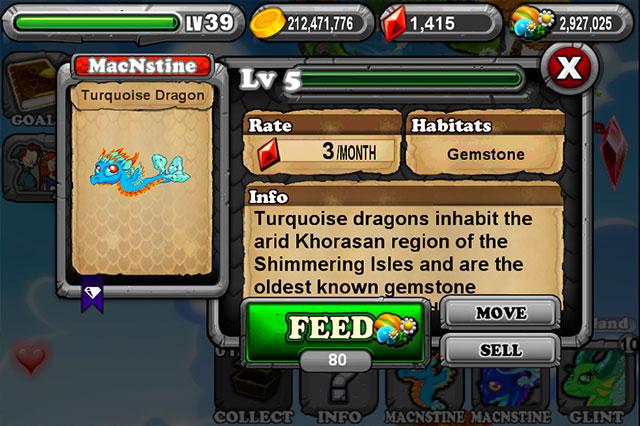 DragonVale Turquoise Dragon