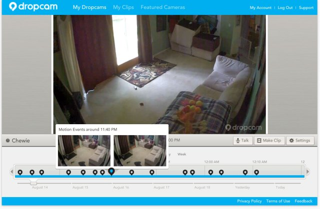 DropCam's DVR feature (for an extra monthly cost) makes scrubbing through your recordings fun, and clips can be exported if you need to save a certain piece of footage.