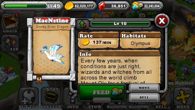 Dragonvale Snowy Silver Olympus Dragon