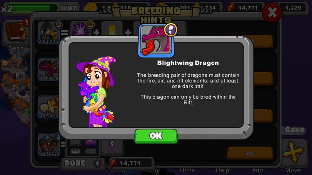 Dragonvale blighting dragon