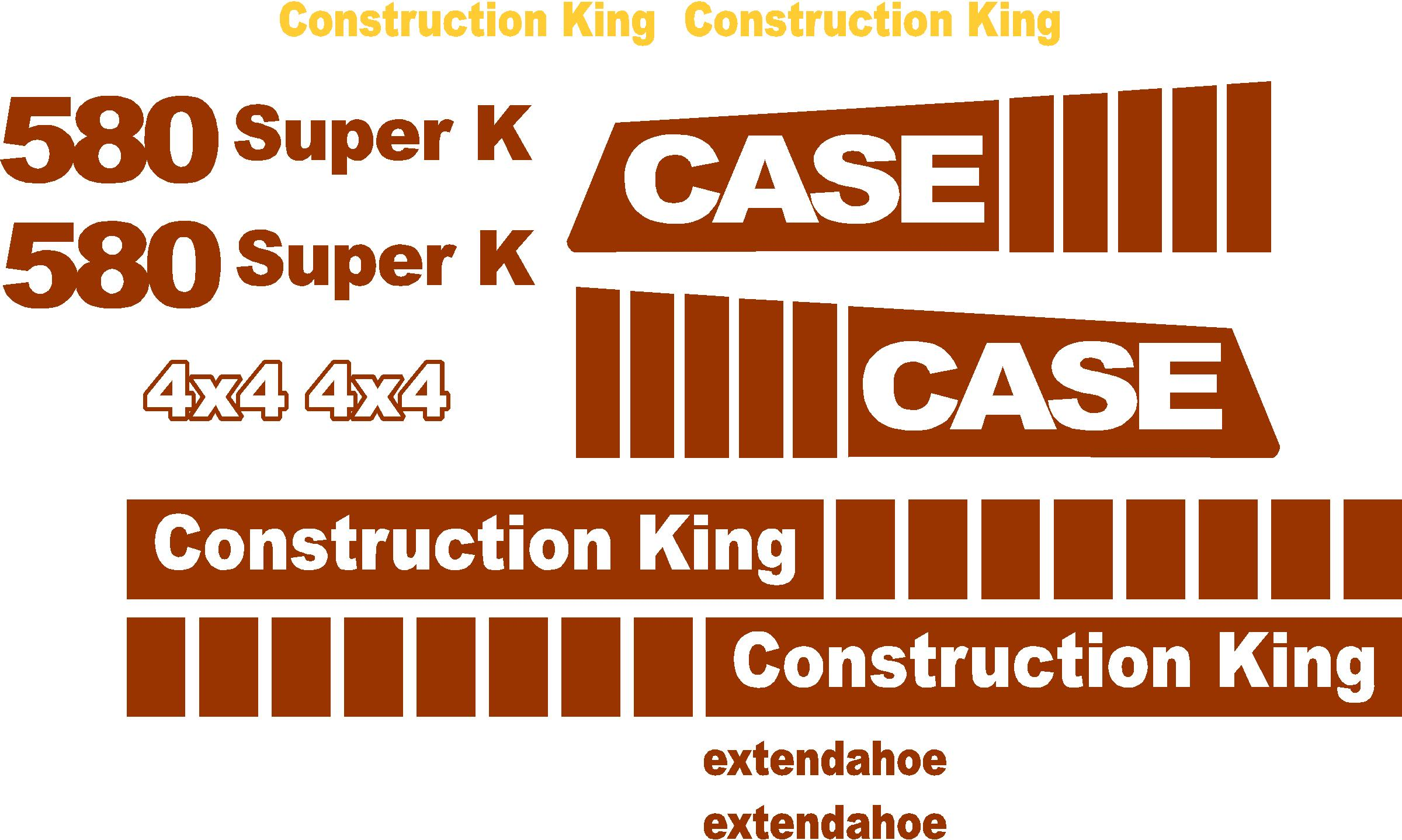 Case 580 Super K New Replacement Decal Kit
