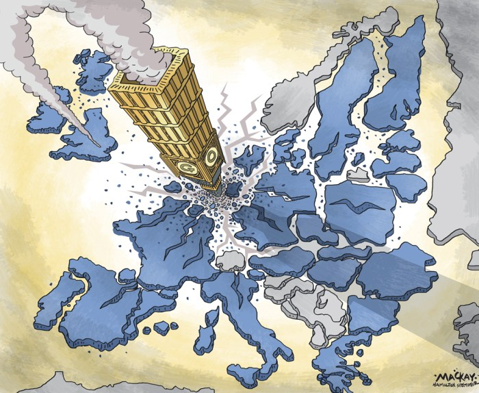 """Editorial Cartoon by Graeme MacKay, The Hamilton Spectator Ð Saturday June 25, 2016 Nexit, Frexit or Italeave? British vote fires up EU's 'Outers' Britain's vote to leave the European Union fired up populist eurosceptic parties across the continent on Friday, giving fresh voice to their calls to leave the bloc or its euro currency. Right-wing and anti-immigrant parties in the Netherlands, Denmark, Sweden and France demanded referendums on membership of the union, while Italy's 5-Star movement said it would pursue its own proposal for a vote on the euro. Geert Wilders, leader of the Dutch anti-immigrant PVV party, said he would make a Dutch referendum on EU membership a central theme of his campaign to become prime minister in next year's parliamentary election. """"I congratulate the British people for beating the political elite in both London and Brussels and I think we can do the same,"""" Wilders told Reuters. """"We should have a referendum about a 'Nexit' as soon as possible.Ó On Thursday, Britons voted to leave the 28-nation EU, forcing the resignation of Prime Minister David Cameron and dealing the biggest blow to the European project of greater unity since World War Two. """"There is no future any more (for the EU),"""" Wilders said. France's far right National Front party also called for a French referendum on European Union membership, cheering a Brexit vote it hopes can boost its eurosceptic agenda. Party leader Marine Le Pen celebrated the result by displaying the British flag on her Twitter page. """"Victory for freedom!"""" she said. """"We now need to hold the same referendum in France and in (other) EU countries."""" Her deputy, Florian Philippot said: """"Our turn now #Brexit #Frexit.Ó The populist anti-immigration Danish People's Party (DF), an ally of Denmark's right-leaning government, also called for a referendum on membership of the European Union. """"I believe that the Danes obviously should have a referendum on whether we want to follow Britain or keep things t"""