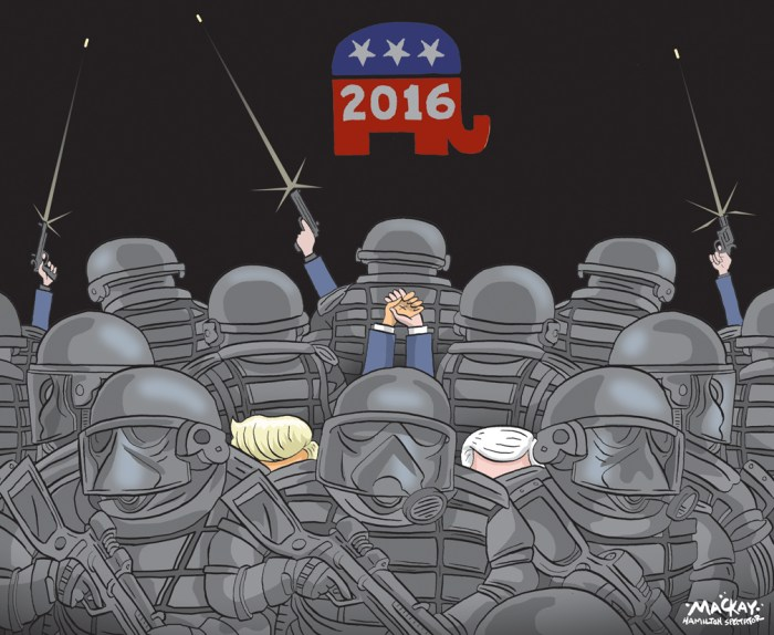 "Editorial Cartoon by Graeme MacKay, The Hamilton Spectator Ð Saturday July 18, 2016 Republican National Convention: Security officials brace for 'anything and everything' About 150 anti-Trump protesters marched along the streets in an unscheduled demonstration Sunday in downtown Cleveland, a peaceful event that law enforcement officials likely hope will be the standard over the course of the next four days. Slowly followed by dozens of officers on bicycles, the demonstrators, many who supported the Black Lives Matter movement, held up large banners that read ""Stop Trump and the RNC"" and ""Stop Trump and stand against racism."" And when it was over, the crowd quietly dispersed. Police Cmdr. Keith Sulzer said the protesters did not have one of the official protest permits that have been handed out to dozens of groups who have come to the city, the site of the Republican National Convention. Still, police allowed them to march. ""We're letting them voice their concerns and that's completely fine,"" Sulzer said. The city was given a $50-million grant to boost security specifically for the Republican convention. Officials have been wary to provide information on security, but anywhere between 4,000 to 5,000 law enforcement officers including state, local and those from other jurisdictions will be on hand for the event. Officers have undergone hours of comprehensive training, Williams said. Extra equipment includes 2,000 sets of riot gear with body armour and batons, 2,500 steel barriers and 16 police motorcycles, CNN reported. Meanwhile, security cameras have been placed throughout the city. ""Trust me. There will be enough video coverage both on the ground and in the sky,"" Williams told reporters. Around 3,000 personnel, including members from the U.S. Secret Service, Homeland Security and the Coast Guard, are dedicated to the security of the convention itself, Johnson said. Security officials drew up a list of prohibited items within the event zone that include it"