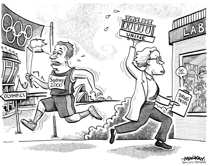 "Editorial Cartoon by Graeme MacKay, The Hamilton Spectator Ð Saturday September 9 2000 The race against cheaters The International Olympic Committee has devoted more resources in its war against performance-enhancing drugs. Two Canadian athletes tested positive this week, and Olympic officials don't believe Olympians will begin taking the high moral ground and turn away from drug use.Some of the world's doping cops may point to the glut of recent positive drug tests -- two involving Canadians bound for the Olympics -- to claim the war on performance-enhancing drugs is working. People on the inside know better. This is a rearguard action at best. ""The International Olympic Committee (IOC) has finally devoted a lot of resources and tools to detection through the World Anti-Doping Agency (WADA), "" says Hamilton-born Richard McLaren, but ""it will never catch up"" with all those trying to escape detection. McLaren is the only Canadian on the IOC's Court of Arbitration, a body that rules on disputes involving the Olympics. He is a London, Ont., law professor connected with the University of Western Ontario's International Centre for Olympic Studies. He says the caseload involving doping that the Court of Arbitration has heard this year indicates more drug use and more detection -- but no evidence that global athletes are seeking high moral ground by turning away from steroids, stimulants, blood doping and human growth hormone. ""We have heard as many cases in eight months as we heard all last year.Ó McLaren, who grew up in Westdale, says policing is only a Band-Aid. ""The root of the problem is in cheating, and in the long-term it will take a widespread program of education about ethics in sport.Ó He says there is just too much information available for anyone who has decided to cheat. ""In a half day on the Internet, you can get a good start on a regimen of drugs to improve performance.Ó The bigger war to be fought, reasons McLaren, is the one for minds and souls"