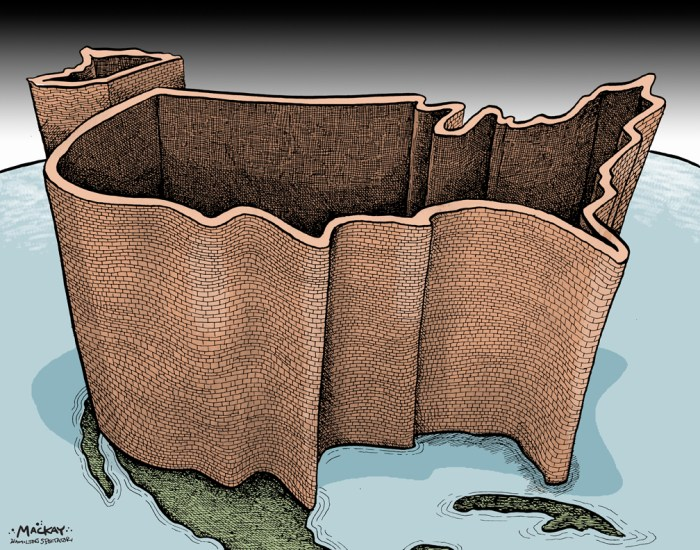 Editorial Cartoon by Graeme MacKay, The Hamilton Spectator - Thursday December 1, 2016 The world according to Trump, and the peril ofÊisolationism We have yet to see the shape ofÊDonald Trump's foreign policy. But as we wait, so do nervous leaders across Europe, Latin America, Asia andÊAfrica. With his arrival in the Oval Office, American alliances and policies forged over decades may well be in play. Meanwhile, in Moscow,ÊPresidentÊVladimir PutinÊsmiles at the election outcome. Hmm. That would be worrisome enough if the U.S. role in geopolitics would start from scratch on Inauguration Day. It won't. PresidentÊBarack ObamaÊalready has reduced America's global involvement and influence. That backward lean is a key reason why Trump will inherit so many foreignÊpolicy predicaments. An America that on his watch slips further to the sidelines, an insular America that regards trouble on the other side of the world as someoneÊelse's problem, would risk eroding diplomatic partnerships and defense pacts. That would imperil American interests overseas and at home:ÊConflicts elsewhere often make themselves felt here. Witness theÊIslamic State-inspired attacks in San Bernardino, Calif., and Orlando, Fla. OrÊremember 9/11.Ê(Continued: Chicago Tribune Editorial)Êhttp://www.chicagotribune.com/news/opinion/editorials/ct-trump-foreign-policy-obama-putin-russia-edit-20161110-story.html This cartoon was colourized from the same image published on September 13, 2001. http://mackaycartoons.net/2001/09/13/thursday-september-13-2001/ USA, maps, wall, isolationism, isolationist, terrorism, security, America, 9/11, Donald Trump