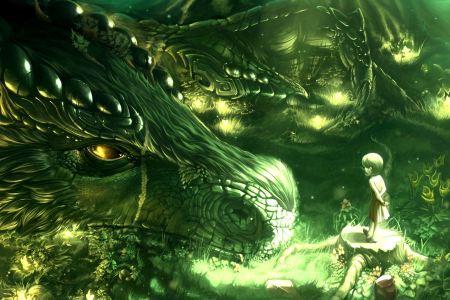green trees dragons monsters forest kids fantasy art artwork magical fresh new hd