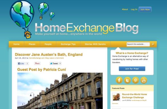 Captura de pantalla del blog internacional de Home Exchange