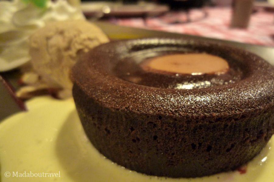 Coulant de chocolate y caramelo en La Winstub