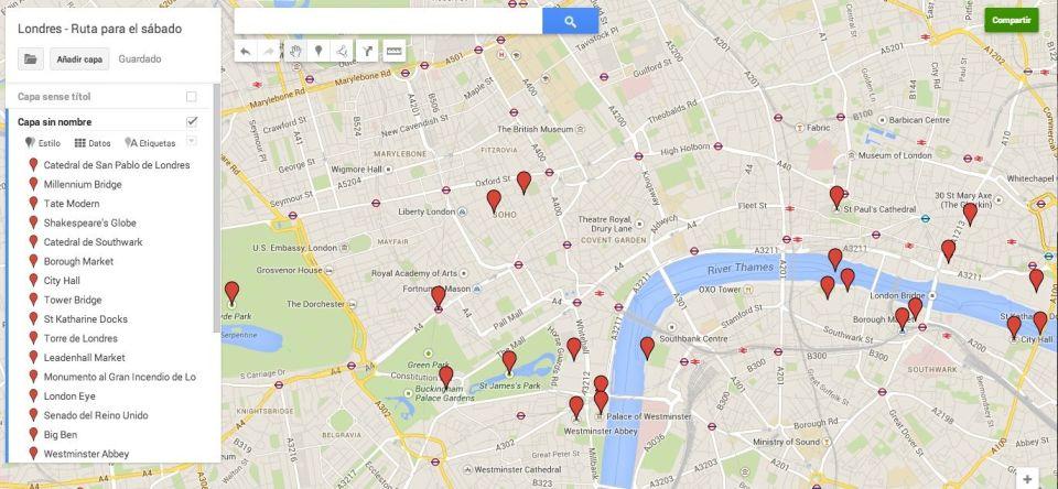 Mapa de la ruta del sábado en Londres
