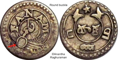 1 Fanam or Panam Coin dated back to 18th century ( Taken from numista.com)