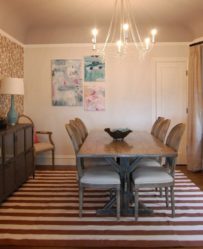 Chic trestle table in Dining Room Eclectic with Painted Dining Tables next to Two Tone Table alongside Sideboard andCottage Porch