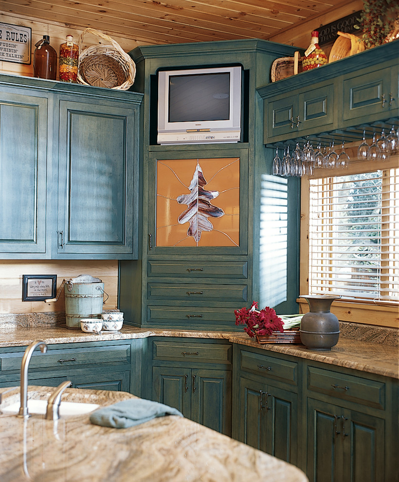 Bright stemware rack in Kitchen Traditional with Blue Kitchen Cabinets next to Knotty Pine Paneling Ideas alongside Art Above Tv andKnotty Pine