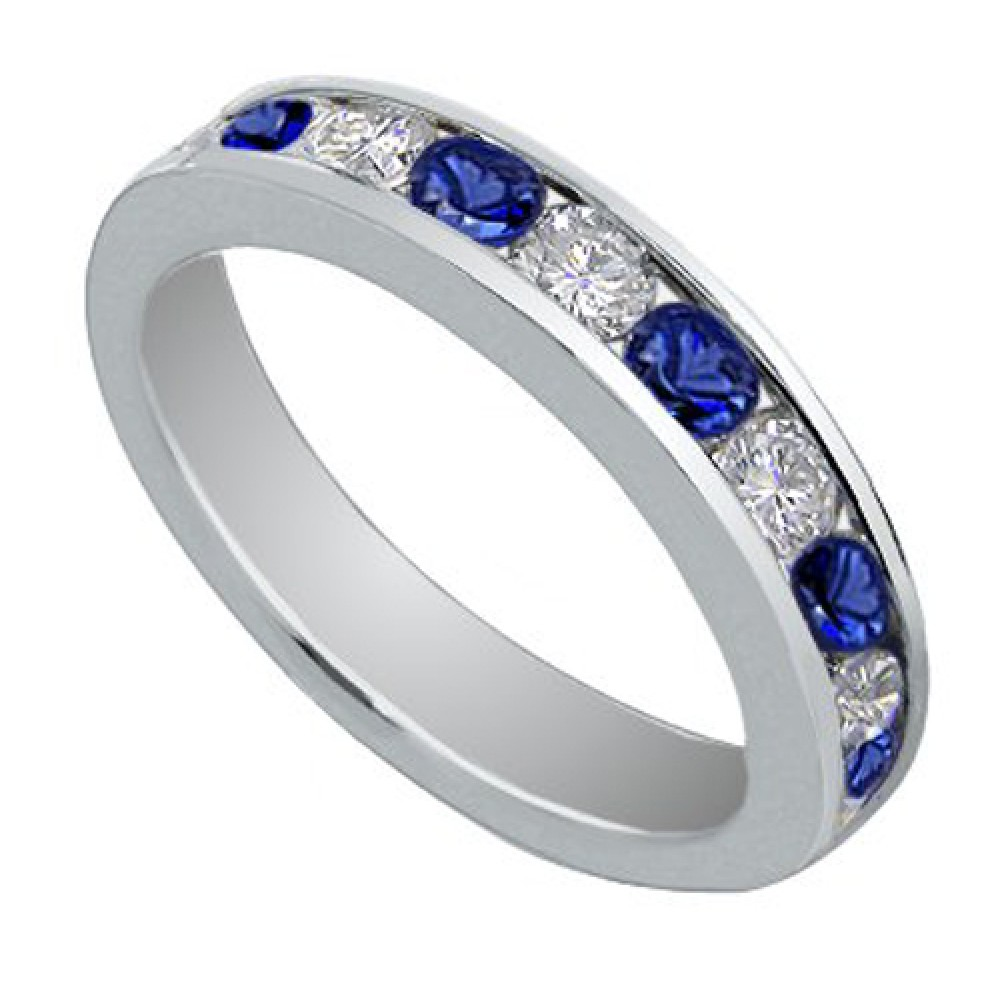 Blue Sapphire Wedding Band Ring sapphire wedding bands 1 00 Ct Round Cut Diamond And Blue Sapphire Wedding Band Ring