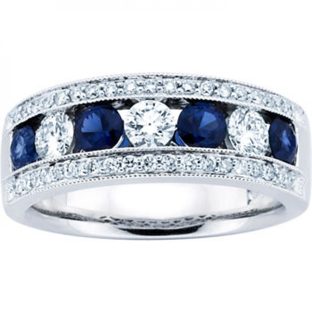 Prong Set Sapphire Wedding Band sapphire wedding bands 1 50 ct Ladies Blue Sapphire Wedding Band Ring