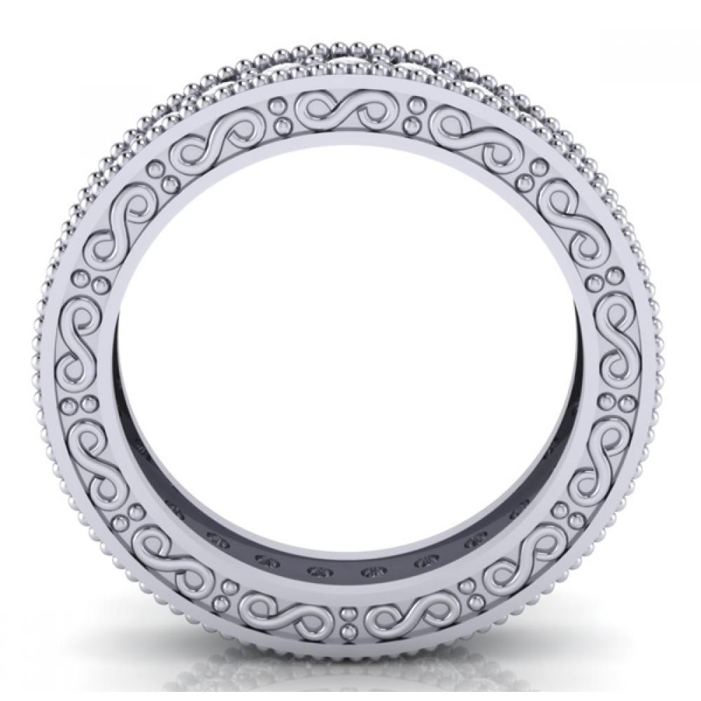 1 00 ct Millgrain Edge Diamond Eternity Wedding Band Ring With Design on The Side eternity wedding band 1 00 ct Millgrain Edge Diamond Eternity Wedding Band Ring With Design on The Side