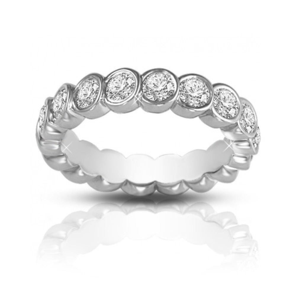 2 00 ct Round Cut Diamond Eternity Wedding Band Ring In Bezel Setting eternity wedding bands