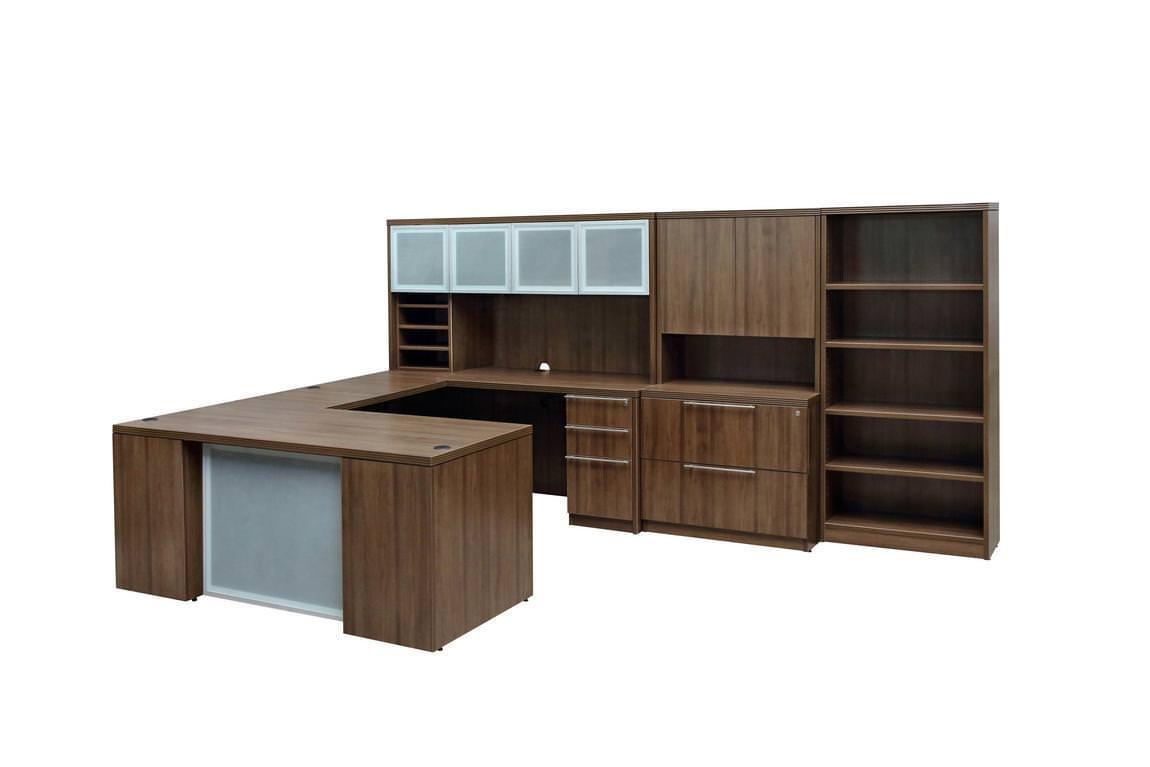 Peculiar Executive Walnut U Shape Desk Set U Shaped Desk Office Layout U Shaped Desk Arrangement Executive Walnut U Shape Desk Set Images houzz 01 U Shaped Desk