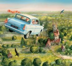 Ron e Harry no carro voador (fonte: Bloomsbury)
