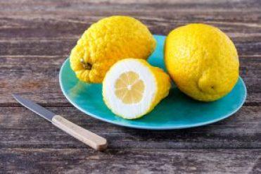 Amalfi-Zitronen auf einem türkisen Teller