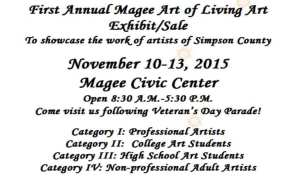 1st Annual Magee Art of Living Art Exhibit @ Magee Civic Center