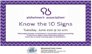 Know the 10 Signs of Alzheimer's @ Mendenhall Library