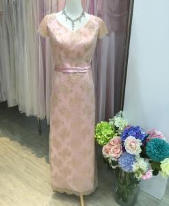 媽媽禮服,粉色,蕾絲,手工珠珠,晚禮服