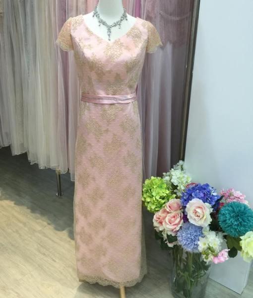 [媽媽禮服]粉色蕾絲手工珠珠晚禮服MS75