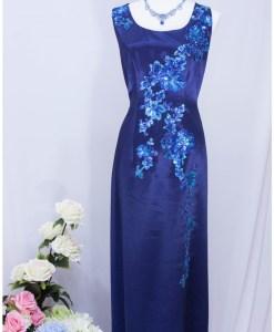 媽媽裝,寶藍緞面,亮片晚禮服