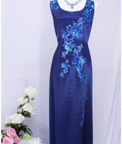 [媽媽裝]寶藍緞面亮片晚禮服 MS-31
