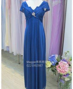 媽媽禮服,亮寶藍,雪紡紗,V領禮服,媽媽裝,
