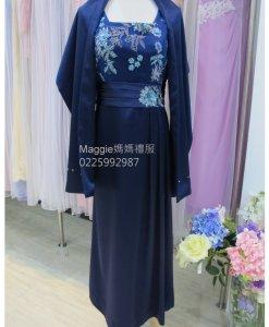 媽媽裝,寶藍緞面,亮片禮服